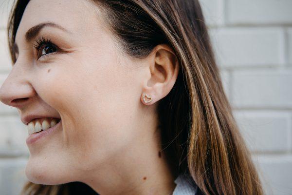 , Yellow Gold Diamond Heart Earrings