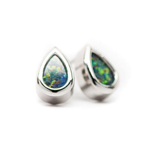, 14 KT White Gold Opal Earrings