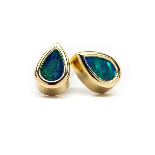 , 14 KT Gold Opal Earrings