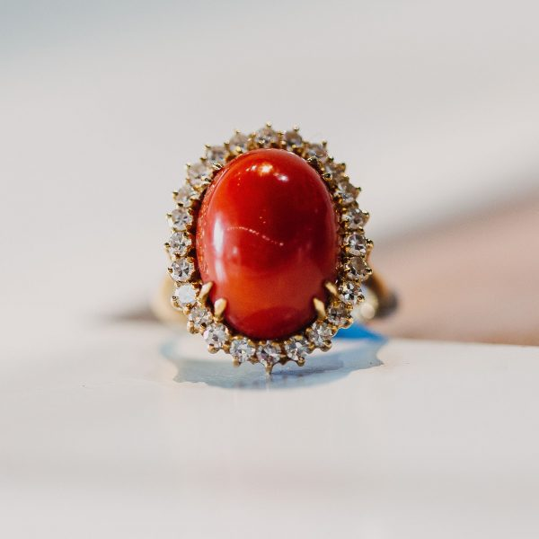 , Red Coral and Diamond Ring