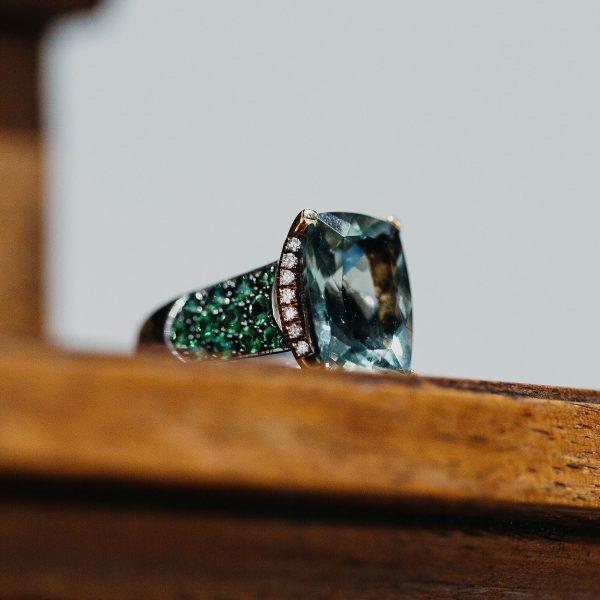 , Peridot Diamond and Green Beryl Fashion Ring