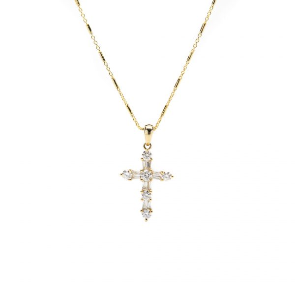 , Cross Pendant 14KYG with 14KYG Octagon Tubes Chain
