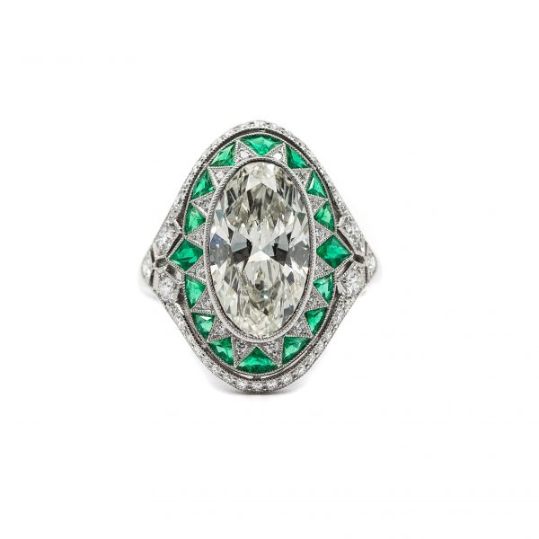 , Customized 3.68 CT Diamond Center 0.45 CTW Emerald Set in Platinum