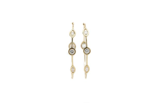 , Yellow Gold and Diamond Hoops with Fancy Shaped Diamonds