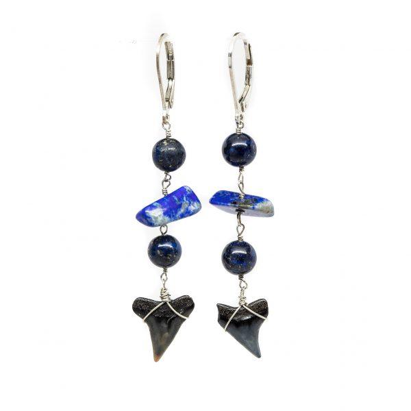 , Gemstone Shark Teeth Earrings
