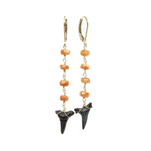 , Shark Teeth & Sunstone Dangle Earrings