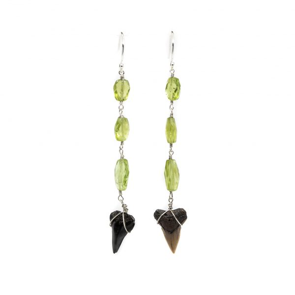 , Shark Teeth + Green Peridot Earrings