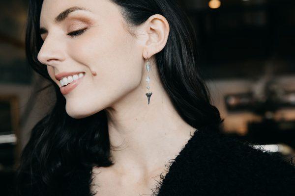 , Gemstone Shark Earrings