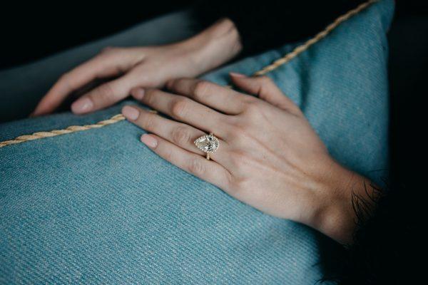 , Custom Pear Shaped Diamond Ring in Yellow Gold