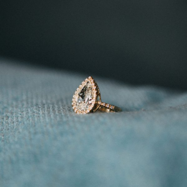 , Custom Pear Shaped Diamond Ring in Yellow Gold