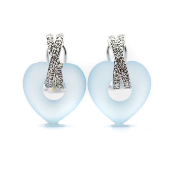 , White Gold Blue Heart Earrings with Diamonds