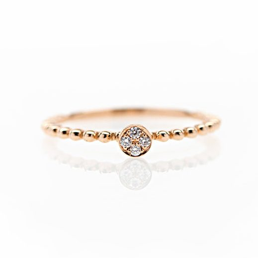 , 18KT Rose Gold and Pave Diamond Stackable Ring