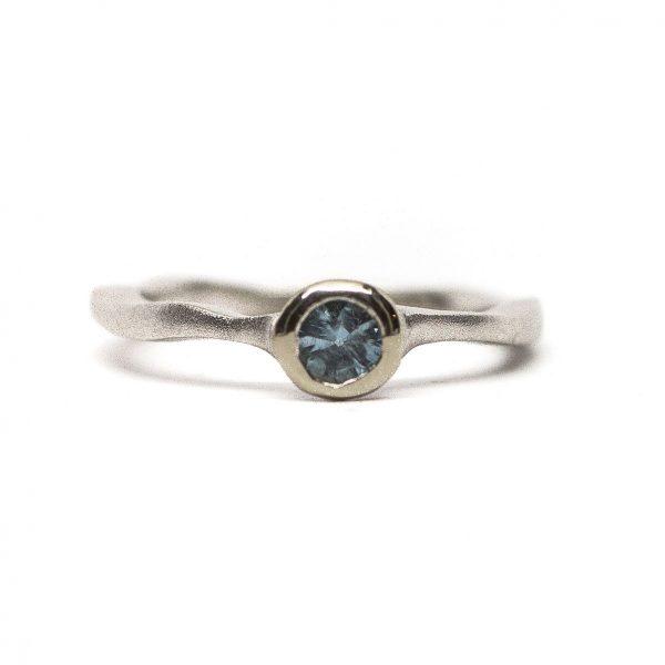 , Wavy Blue Topaz Ring Satin