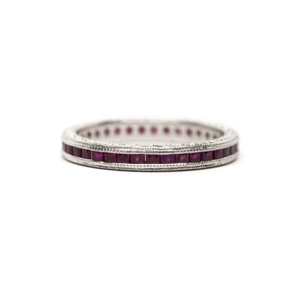 , 1.00 Square Cut Ruby Eternity Band set in Platinum