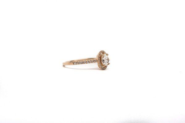 , 0.61 CT Euro Cushion Diamond Ring set in Rose Gold