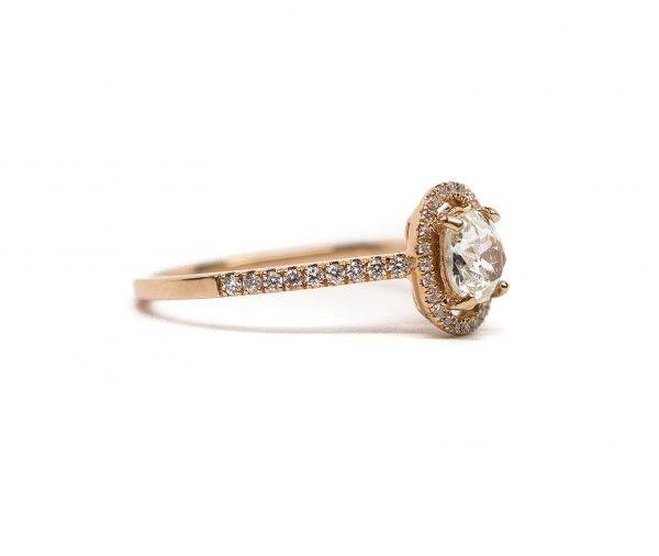 , 0.61 CT Euro Cushion Diamond Ring set in Rose Gold