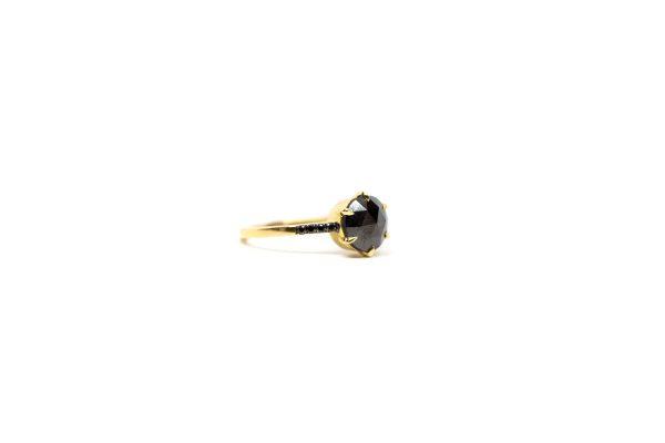 , Doves Rose Cut Black Diamond Ring