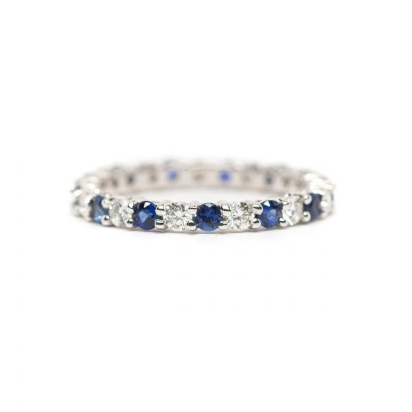 , 0.79 CT Sapphire 0.63 CT Diamond Eternity Band
