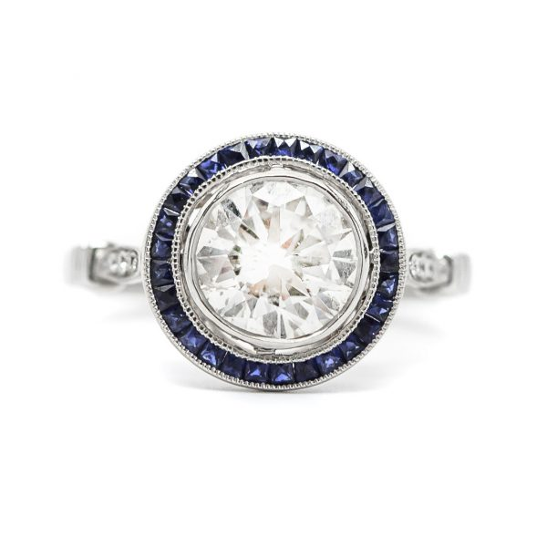 , 1.68 CT Diamond and Sapphire Engagement Ring