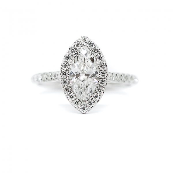, 1 CT Marquee Engagement Ring set in 18 KT White Gold