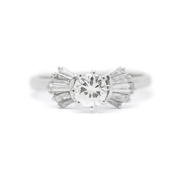 , 0.50  CT Diamond Ring with 0.40 Baguettes set in Platinum