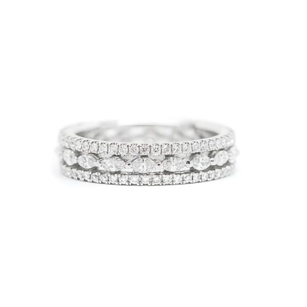 , Round and Marquise Cut Diamond Band 18 KT White Gold