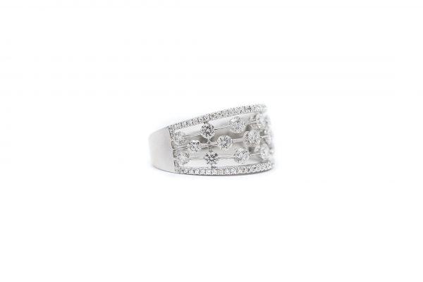 , Multi Row Diamond Band 14 KT White Gold