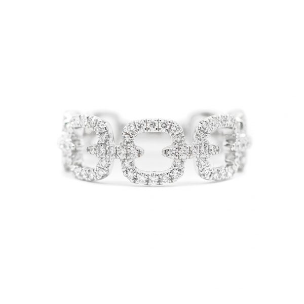 , Diamond Link Band 14 KT White Gold