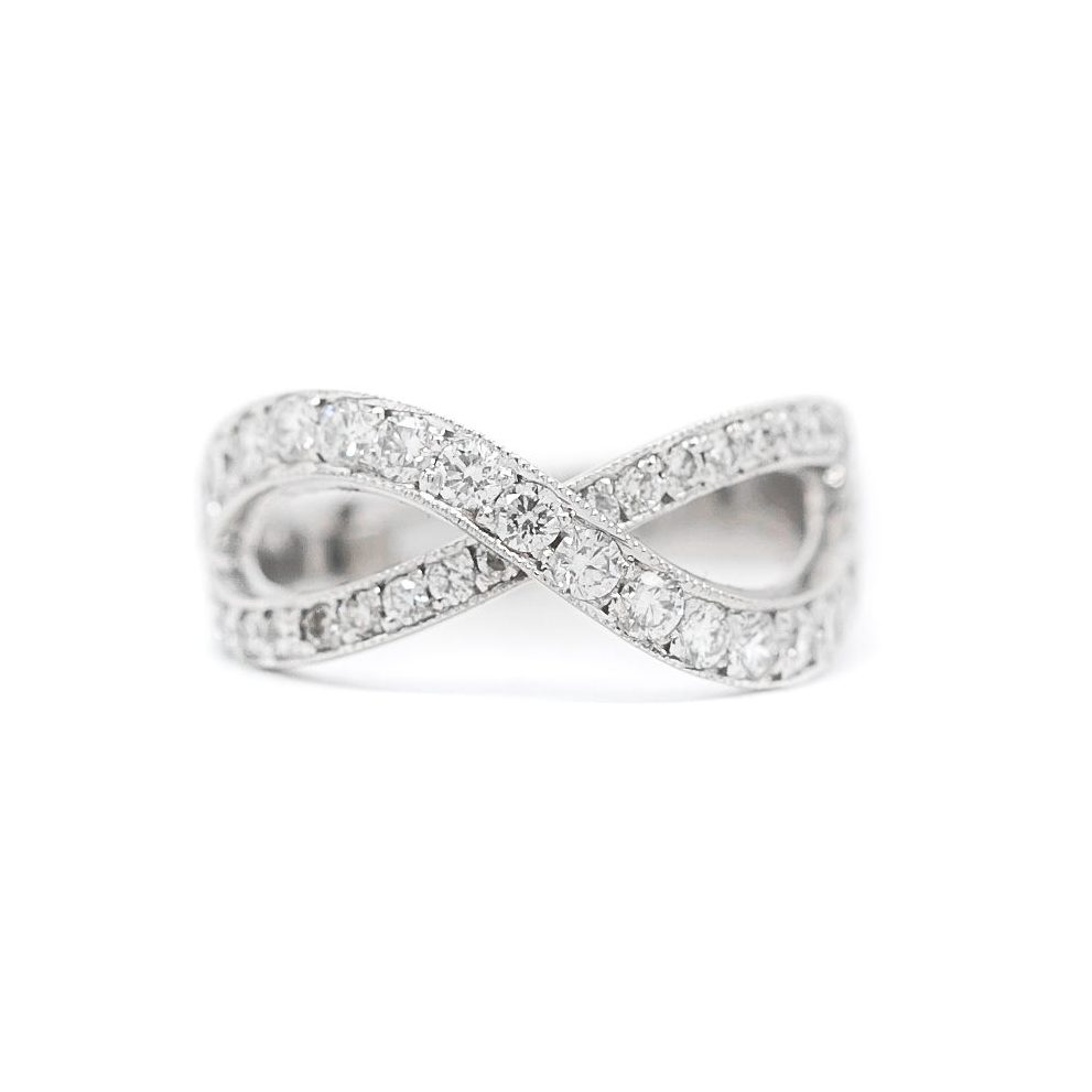 Crossed Wedding Bands.Crossed Diamond Band 71 Ct