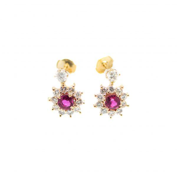 , Ruby + Diamond Earrings