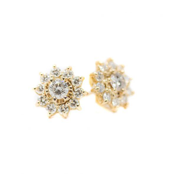 , Flower Diamond Studs