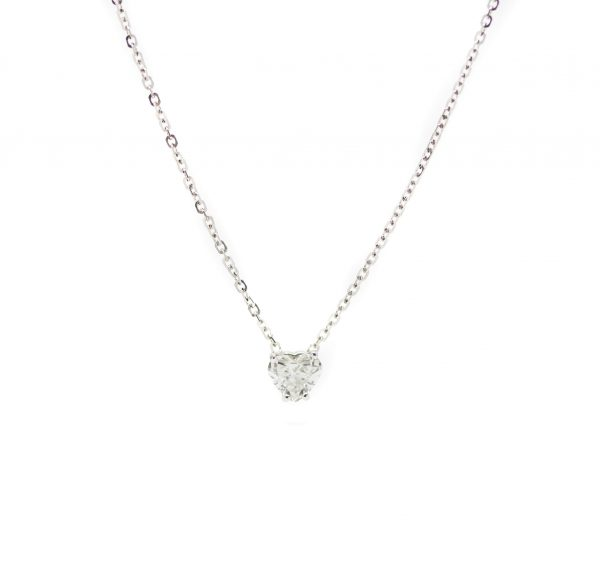 , Heart Shaped Diamond Necklace w Chain