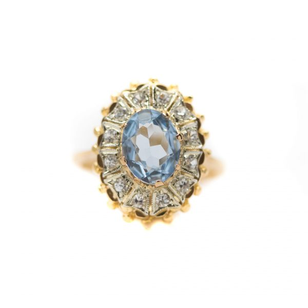 , Aquamarine Diamond Ring