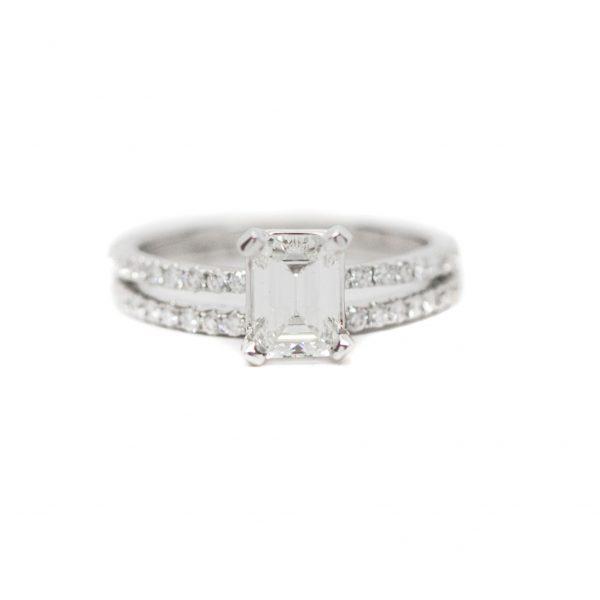 , Emerald Cut Engagement Set