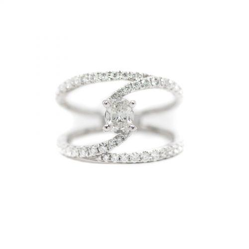 Bypass Oval Cut Diamond Ring