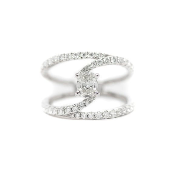 , Bypass Oval Cut Diamond Ring