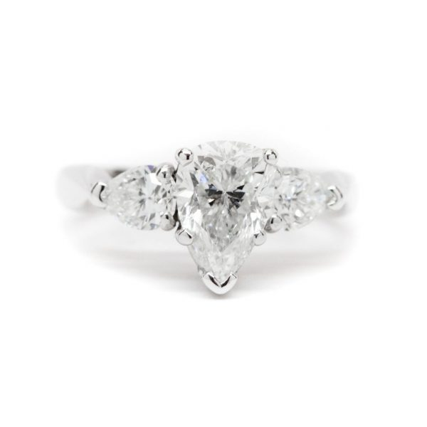 , Pear Center Pear Side Engagement Ring