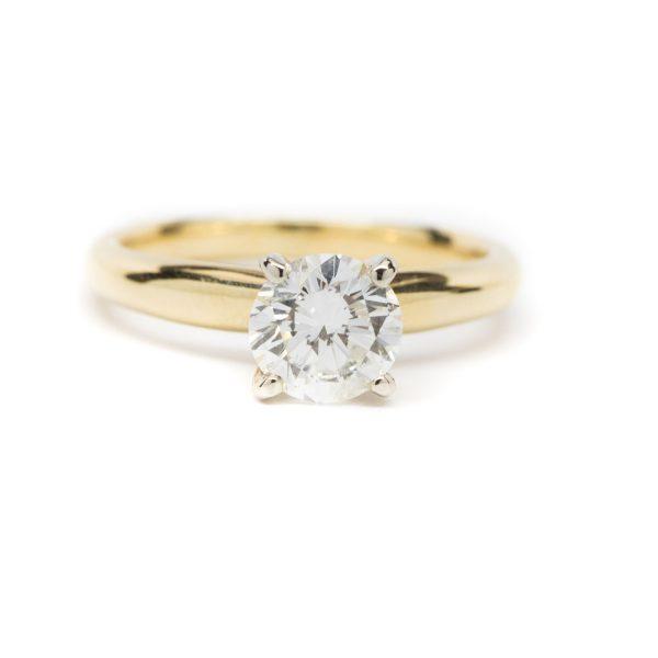 , 1.10 CT Diamond Engagement Ring 14 KT Yellow Gold