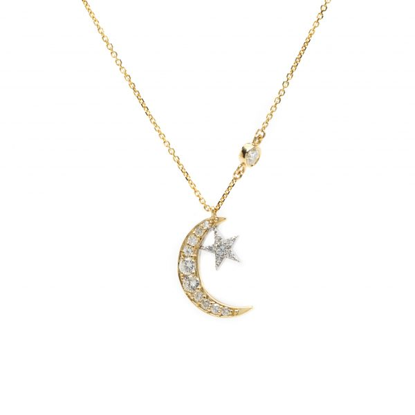 , Moon and Star Necklace