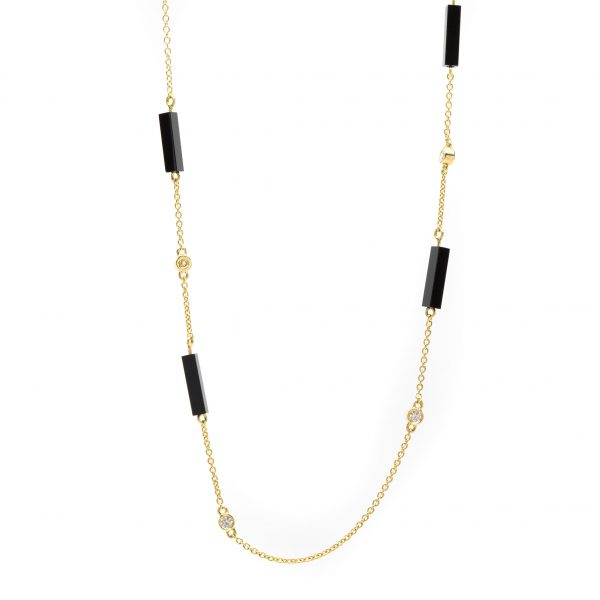 , Doves Onyx  Diamond Necklace