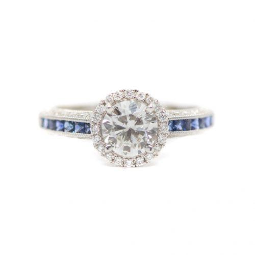 0.82 CT RBC Diamond Sapphire Engagement Ring