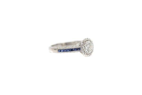 , 0.82 CT RBC Diamond Sapphire Engagement Ring
