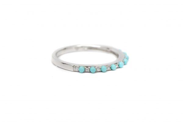 , Diamond & Turquoise Bead Band
