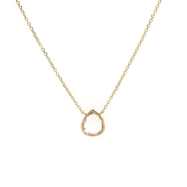 , Rose Cut Pear Diamond Necklace