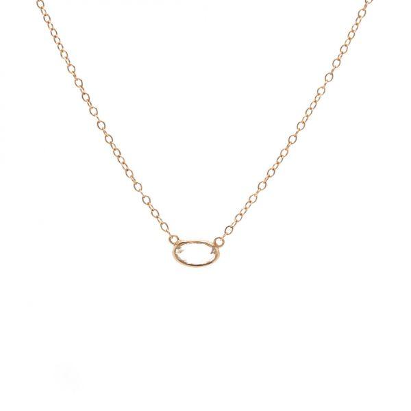 , Rose Cut Oval Diamond Necklace