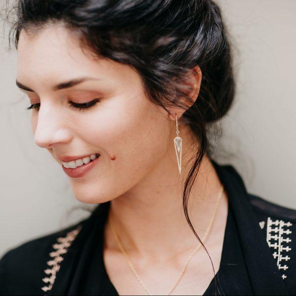 , Doves Diamond and White Topaz Earrings