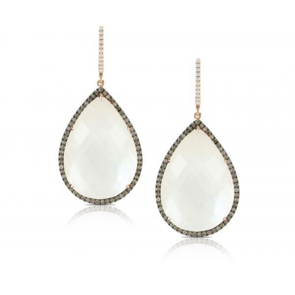 , Mother of Pearl and Diamond Earrings