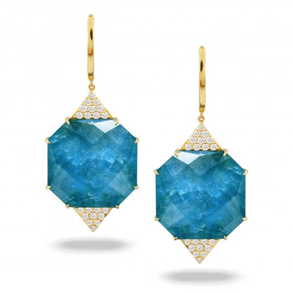 , Doves Diamond with Blue Topaz Over Appatite