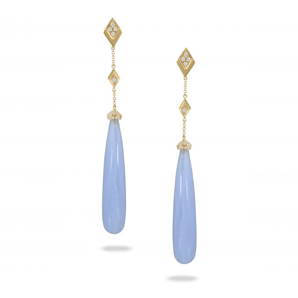, Doves Artica Diamond Earring with Blue Lace Agate