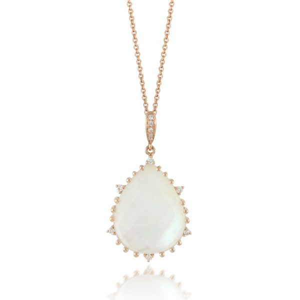 , Doves Mother of Pearl and Colorless Topaz Doublet Pendant
